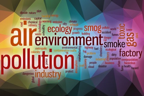 Air pollution word cloud concept with abstract background