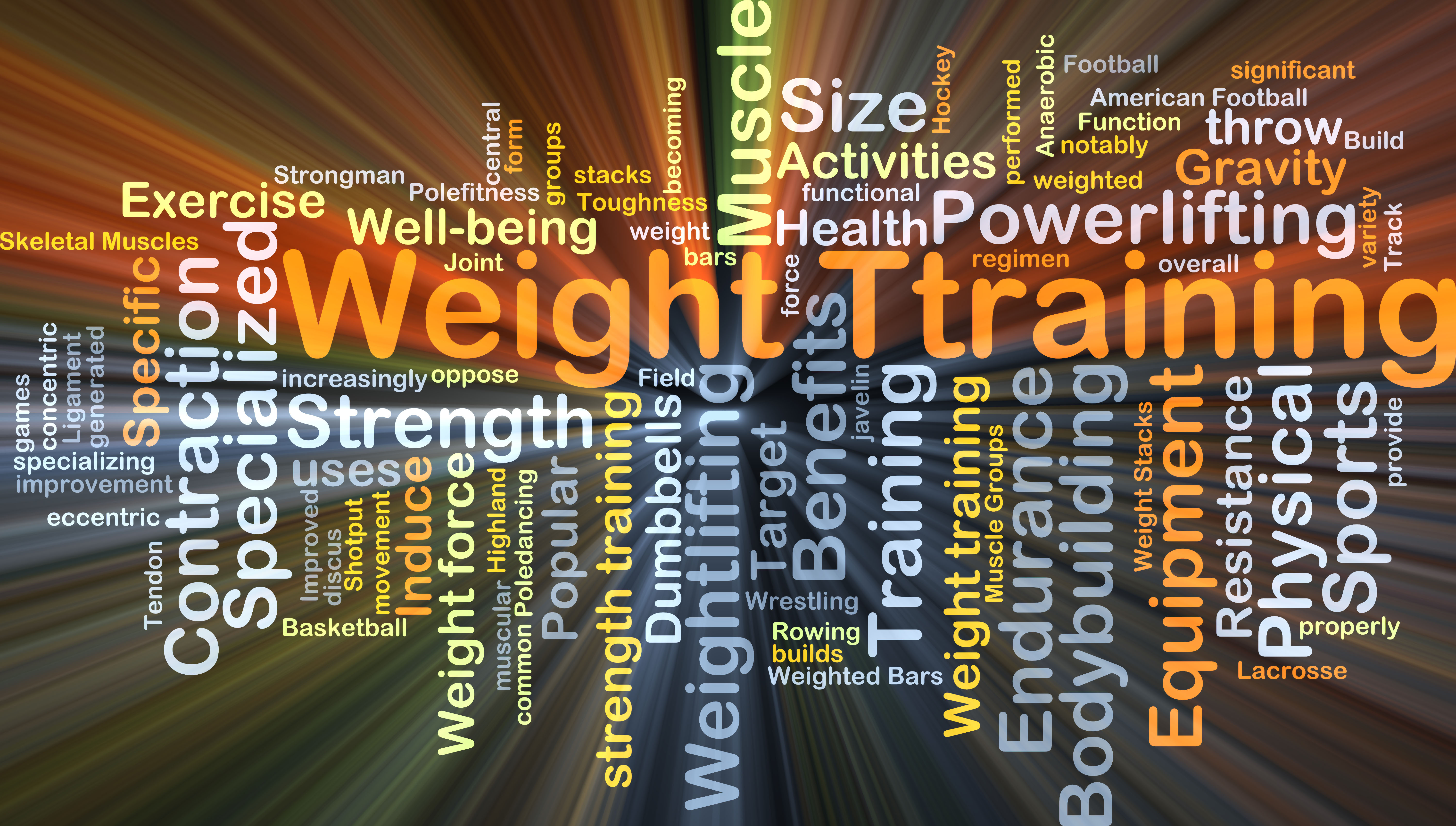 Background concept wordcloud illustration of weight training glowing light