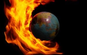 Earth globus is on fire