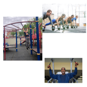 three pictures of different people training