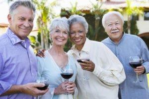 Old friends drinking wine