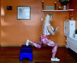 Adriana doing exercises at home