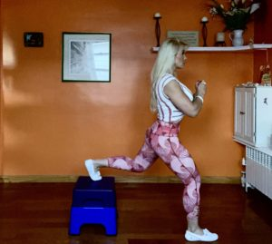 Adriana Albritton doing exercises at home