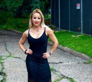 Adriana Albritton in dress outside
