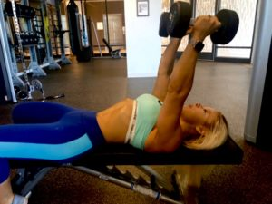 Adriana Albritton and lying dumbbell tricep extensions