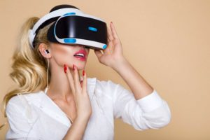 beautiul woman using VR heaset