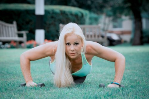 Adriana Albritton doing staggered pushups